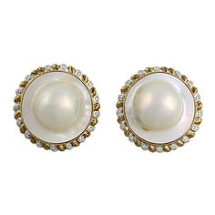 Large 14K Mabe Pearl and Diamond Clip Back Earrings, c. 1970s or 1980s. $1250