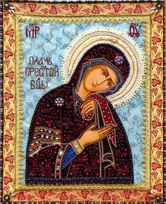 Шамордино, вышитые иконы монастыря.Не рыдай мне мати