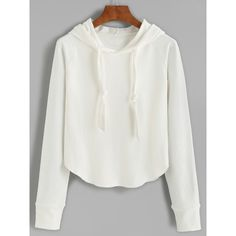White Raglan Sleeve Hooded Sweatshirt (33 BRL) ❤ liked on Polyvore featuring tops, hoodies, white, sweatshirt hoodies, long sleeve hooded sweatshirt, hooded sweatshirt, pullover hoodies and white long sleeve top