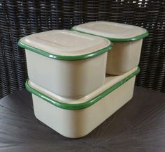 Enamelware Refrigerator Boxes. Set Of 3 With Lids. Enamel Storage Containers…