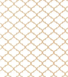 Buttercream™ Audrey Collection Cotton Fabric-White Quatrefoil Metallic