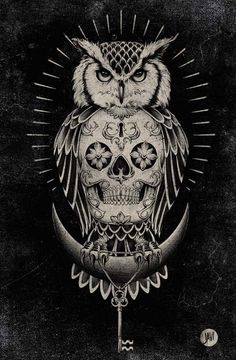 This would be an awesome Tattoo!! I have a thing for owls, elephants, tribal, anchors, birds & feathers, skulls some what if done right Skulls, Tattoo Ideas, Thigh Tattoos, Art, A Tattoo, Tattoos Owl, Owls, Owl Tattoos, Sugar Skull Tattoos