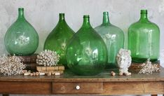 Antique Bottles, Vintage Bottles, Bottles And Jars, Glass Bottles, Plant Shelves, Hanging Shelves, Glass Jug, French Wine, Vintage Wine