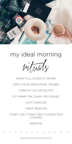 Use this list of ideal morning rituals to inspire your own daily self-care and self-love practices. Daily Journal Prompts, Morning Ritual, Journal Design, Writing Workshop, Do It Right, Tarot Reading, Mornings, Earthy, Self Love