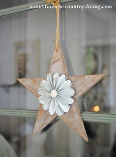 rustic wooden star with paper fan