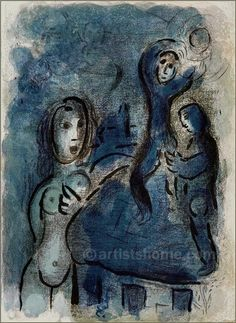 Marc Chagall: Rahab and the Spies of Jericho, Original Lithograph 1960