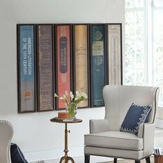 Love these Oversized First Edition wall art pieces! Striking authentic designs and perfect for any book lover! (from Grandin Road) printed on gallery-wrapped canvas and mounted in walnut floater frames.