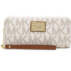 Michael Michael Kors Jet Set Travel Continental Wristlet ($158) ❤ liked on Polyvore featuring bags, handbags, clutches, vanilla, wristlet clutches, brown purse, print purse, michael michael kors and travel purse