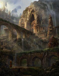 63 Ideas for fantasy art landscapes ruins beautiful Fantasy City, Fantasy Castle, Fantasy Places, High Fantasy, Medieval Fantasy, Fantasy World, Daily Fantasy, Fantasy Forest, Fantasy Art Landscapes