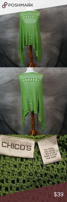 Chico's crochet poncho wrap. Green. One size. Chico's crochet poncho wrap. Green. One size. Excellent condition. Chico's Sweaters Shrugs & Ponchos