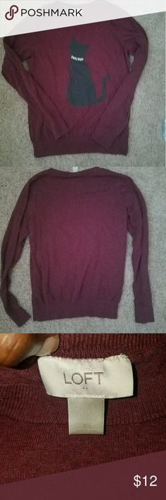 LOFT size xs burgundy sweater Adorable burgundy sweater with a cat on it. Size xs. LOFT Sweaters