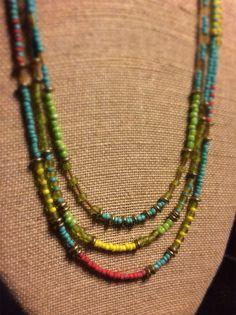 Three strand, tribal glass beaded necklace. on Etsy, $45.00