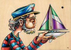 "Blow Your Boat ~ 5""x7"" colored pencil on wood by Bryan Collins ~ http://www.useeverycolor.com  #boat #sailor #nautical #art #drawing #prismacolor"