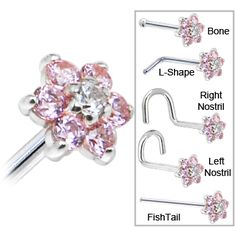 Solid 14KT White Gold Pink and Clear Cubic Zirconia Flower Nose Ring #bodycandy