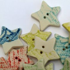 5 Handmade Star Shaped Porcelain Lace Buttons by melissaceramics, £10.00  #handmade #buttons #star