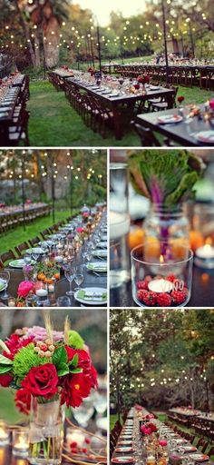 outdoor wedding reception with bright colored centerpieces and wood tables