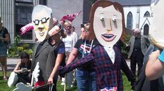 Protestors from the Nova Scotia Citizens' Health Care Network staged a parade of giant puppets, to send a message to the premiers to stand up to Ottawa.