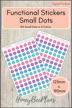 192 Functional Small Dots stickers in 4 colors, Pink, Blue, Green and Purple. This sticker kit is designed for planning in your planner. Printable downloadable file allows you to print and cut either by hand or with a cutting machine of your choice. Printable Planner Stickers, Printables, Green And Purple, Pink Blue, Print And Cut, Dots, How To Plan, Colors, Design