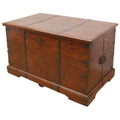 19th Century Anglo-Indian Teak Tea Chest | From a unique collection of antique and modern trunks and luggage at https://www.1stdibs.com/furniture/more-furniture-collectibles/trunks-luggage/