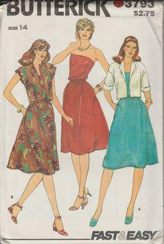 1981 Womens Strapless Dress Pattern | Misses Jacket Pattern | Tube Top Dress | Vintage Butterick 3793 | Short Sleeved Jacket | Size 14