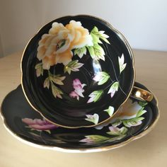 Chugai Occupied Japan Vintage Black Teacup and Saucer, Hand Painted Yellow…