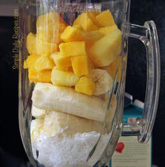 Tropic Smoothie Recipe:                 1/2 cup unsweetened coconut flakes  3 cold, medium bananas  1 cup frozen pineapple chunks  1 cup frozen mango chunks  2 1/2 cup unsweetened non-dairy milk (soy, almond, coconut, etc.) ... only 182 calories