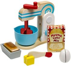 Melissa & Doug Wooden Make-a-Cake Mixer Set pcs) - Play Food and Kitchen Accessories - Most Wanted Christmas Toys Cakes To Make, How To Make Cake, Play Food Set, Plastic Bowls, Toy Kitchen, Barbie Kitchen, Melissa & Doug, Little Cakes, Coffee Set
