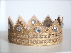 Majestic Gold Lace Crown with Gems for Boy or by LilBirdsCouture