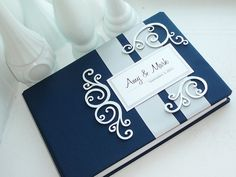 Navy and Silver Wedding Guest Book made to by EnvelopeGuestBooks, $47.00