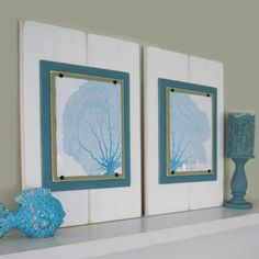 Set of 2 Turquoise Seafan prints in a lightly distressed wide plank frame with Turquoise and green mats. #design #coastal #coral
