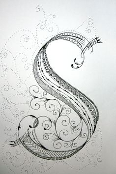 ZenTangle Alphabet Drawing on Bright White Drawing Paper with