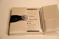Gatefold wedding invitation. Black and Ivory wedding invitation box. See more at www.boxedweddinginvitations.com #wedding #weddings #wedding2015 #bride2015 #invitations