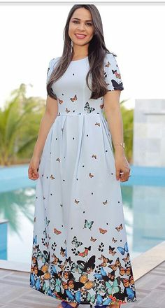 Simple Summer to Spring Outfits to Try in 2019 Lovely Dresses, Modest Dresses, Modest Outfits, Cheap Dresses, Casual Dresses, Summer Dresses, Modest Clothing, Frock Fashion, Fashion Dresses