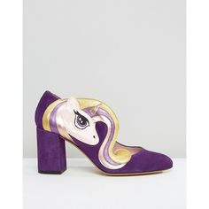Minna Parikka Sparks Purple Unicorn Heeled Shoes ($180) ❤ liked on Polyvore featuring shoes, glitter wedge shoes, high heeled footwear, skate shoes, block heel shoes and bunny shoes
