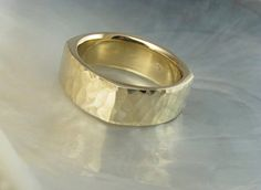 man's hammered square wedding band in 14k gold 8mm by RavensRefuge, $1470.00