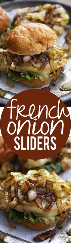 awesome French Onion Chicken Sliders - Creme De La Crumb