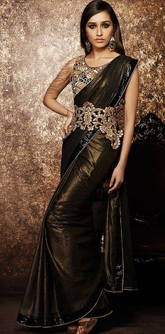 USD 46.26 Shraddha Kapoor Black Shimmer Georgette Bollywood Saree 42974