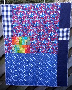https://flic.kr/p/DukbcK | 16 Top 2014 back | and the back of the quilt with fabrics I received with the blocks