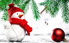 Download wallpapers snowman, winter, toy, Christmas, New Year, red scarf, red hat