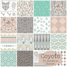 I got frustrated looking for fabrics, so I ordered this Coyote Fat Quarter Bundle in Sunrise. There are 15 pieces in this fabric line. It seems to have the same palette as some you pinned. We'll see when it arrives.