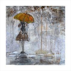 Art Print of Original Acrylic Mixed Media Painting - RAIN GIRL - Brown, Gray, Black, White. via Etsy.