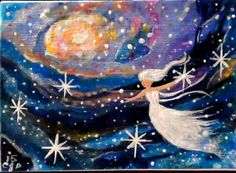 ACEO Original Painting Galaxy Angel, #5 Card of 2015 #Miniature