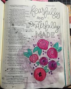 """Psalm 139:13-14 """"For you formed my inward parts; you knitted me together in my mother's womb. I praise you for I am fearfully and wonderfully made. Wonderful are your works; my soul knows it very well."""" I love this verse because it is a beautiful reminder to whom we belong. We belong to a God who created all of the incredible beauty in this world who also had a specific plan for creating us.  I am so grateful for this Illustrated Faith community which has inspired me to branch out in my…"""