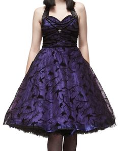Beautiful Gothic/Rockabilly Dress by Hellbunny.  http://www.inspiredinsanity.com.au/Womens-Clothing/HELL-BUNNY-Crow-Psychobilly-Gothic-Satin-Formal-Dress/prod_1051.html