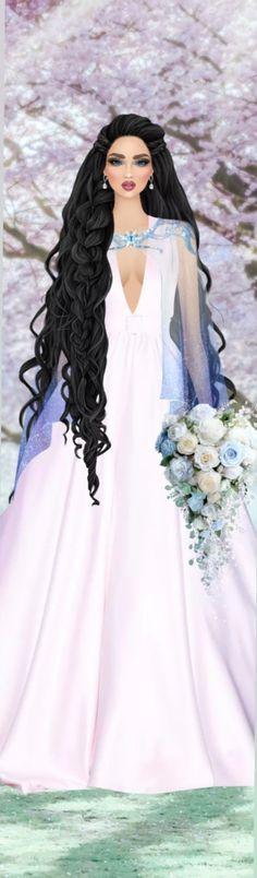 Fantasy Art Angels, Pink Dresses, Covet Fashion, Cover Up, Hair, Women, Brides, Templates, Vestidos