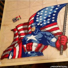 Captain America perler beads by retro4everything