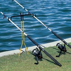 Cabela's Bank Fishing Rod Holders Easily secure your rods for bank fishing with these hands-free holders. Available: Double Rod Holder – This rod holder will secure two rods and a lantern for night fishing. Sturdy steel construction and a rustproof powder-coated finish ensures you'll be using it for many seasons. Soft cushions in the cradles protect the finish on your rods. Stores flat for easy transport and storage. Per each.