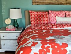 tan and coral bedroom decor with wood accents | Rooms & Decor I ...