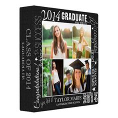 Shop Custom Faux Chalk Graduation 2019 Photo Scrapbook 3 Ring Binder created by marisuvalencia. Personalize it with photos & text or purchase as is!