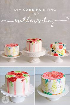 "Treat mom to a hand-painted cake this Mother's Day. These gorgeous cakes are covered in white fondant and decorated with ""paint"" made from watered down gel icing. With this helpful tutorial, it's easy to accomplish these artistic desserts on your own! Creative Cake Decorating, Cake Decorating Tutorials, Creative Cakes, Cookie Decorating, Pretty Cakes, Beautiful Cakes, Amazing Cakes, Cupcakes, Cupcake Cakes"